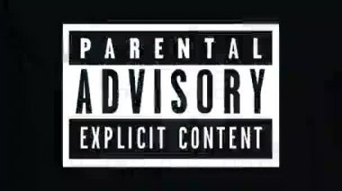 Parental advisory label - explicit content label on TV noise background. 1920x1080, 1080p, hd footage. — Stock Video