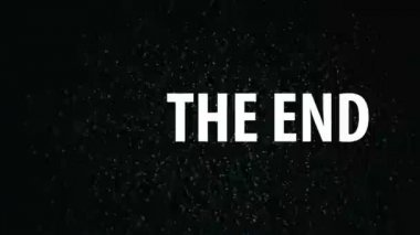 The End title on TV noise background. Ending sequence. 1920x1080, 1080p, hd footage. — Stock Video
