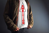 Man wearing white shirt with title ambition. — Stock Photo