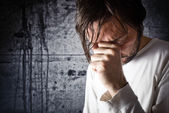 Depressive man is crying — Stock Photo