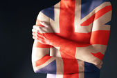 Topless man with Great Britain Flag painted on his body — Stock Photo