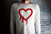 Hearbleed bug symbol on white shirt — Stock Photo