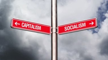 Capitalism or Socialism, conceptual video with opposite direction guidance signs. 1920x0180, 1080p, hd footage. — Stock Video