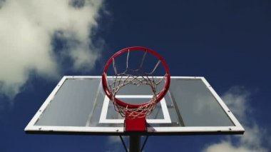 Basketball hoop with cage with clouds time lapse footage in background. 1920x1080, 1080p, hd format. — Stock Video