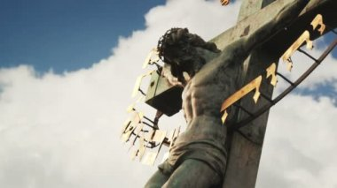 Crucifixion. Christian cross with Jesus Christ statue over stormy clouds time lapse. 1920x1080, 1080p, hd format. — Stock Video