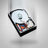 Computer hard disk falling — Stock Photo