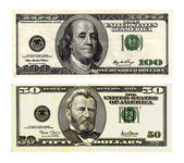 Hundred and fifty dollars bills on white background. — Stock Photo