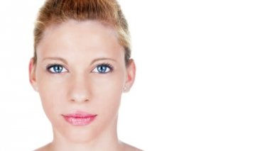 Beautiful woman aging process portrait. Female model with pink lipstick with aging skin and growing face wrinkles. 1920x1080, 1080p, full hd footage. — Stock Video