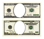 Hundred and fifty dollars bills on white background. — Foto de Stock