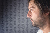 Unshaven man profile portrait — Stockfoto