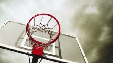 Basketball hoop with clouds time lapse footage in background. 1920x1080, 1080p, full hd format. — Stock Video