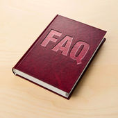 FAQ book. Frequently asked question. — 图库照片