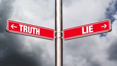 Truth or lie opposite direction signs. Concept of choice. 1920x1080, 1080p, hd footage. — Stock Video