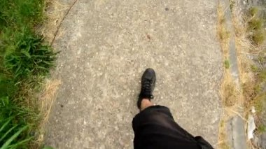 Man walking on the street, eye view camera from above. 1920x1080 full hd footage. — Stock Video