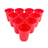 Empty Plastic red cups — 图库照片