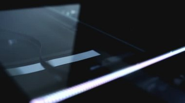 Flat bed computer scanner in action. Close up, selective focus with shallow depth of field full HD footage, 1920x1080. — Stock Video