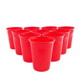 Empty Plastic red cups — Stock Photo
