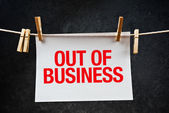 Out of business note printed on paper — Stock Photo