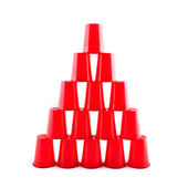 Empty Plastic red cups pyramid — Stock Photo