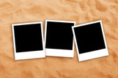 Three Blank photo frames on beach sand — Stok fotoğraf