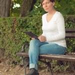 Woman using digital tablet computer — Stock Photo #50297323