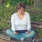 Woman using digital tablet computer — Stock Photo #50297359