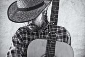 Ouest de cow-boy pays musicien à la guitare — Photo