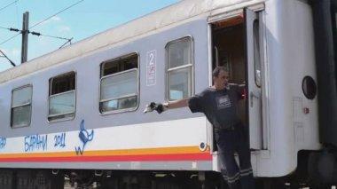 Serbian Railways Train passing by — Stock Video
