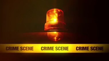 Crime Scene Yellow Headband Tape and Orange flashing and revolving light. Murder Scene Police Ribbon. — Stock Video