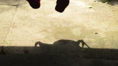 Shadow of a Boy on swing seat — Stock Video