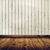 Room interior with white brick wall and wooden floor — Stock Photo