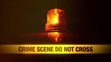 Crime Scene Do Not Cross Yellow Headband Tape and Orange flashing and revolving light. Murder Scene Police Ribbon — Stock Video
