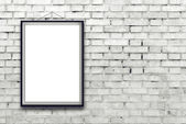 Blank vertical painting poster in black frame — Foto Stock