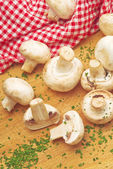 Fresh edible Portabello Mushroom Champignon and Parsley — Stock Photo