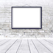 Blank horizontal painting poster in black frame — Stock Photo