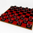 3d Render Shot Glass Checkers — Stock Photo