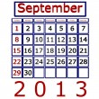 3D render september 2013 kalender — Stockfoto