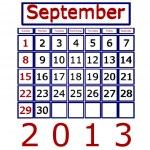 3D vykreslení kalendář září 2013 — Stock fotografie