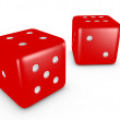 Royalty-Free Stock Photo: 3d Render of a Red Pair of Dice on White