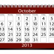 Stock Photo: 3d Render 2013 Calendar October