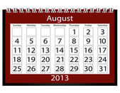 3d Render 2013 Calendar August — Stock Photo