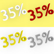 3d Render 35 percent in white, red, silver and gold — Stock Photo