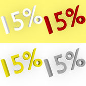 3d Render 15 percent in white, red, silver and gold — Stock Photo
