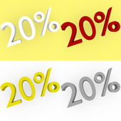 3d Render 20 percent in white, red, silver and gold — Stock Photo