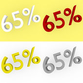3d Render 65 percent in white, red, silver and gold — Stock Photo