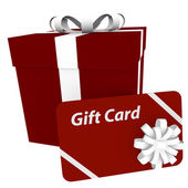 3d Render of a Gift Card and Present — Stock Photo