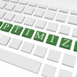 Stock Photo: 3d Render of Keyboard Spelling Out Optimize