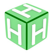 3d Font Cube Letter H — Stock Photo