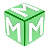 3d Font Cube Letter M — Stock Photo