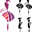 Women silhouette — Vector de stock